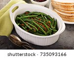 green beans with bacon  side... | Shutterstock . vector #735093166