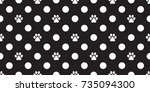 cat paw dog paw foot print... | Shutterstock .eps vector #735094300