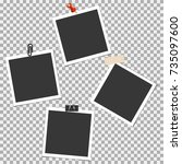 photo frame with pin  clip and... | Shutterstock .eps vector #735097600