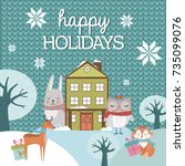 cute christmas greeting card... | Shutterstock .eps vector #735099076
