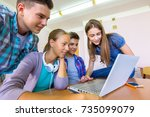 group of young students... | Shutterstock . vector #735099079