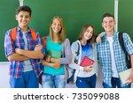 portrait  group of  teens in... | Shutterstock . vector #735099088
