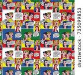 pop art background. retro comic ... | Shutterstock . vector #735099853