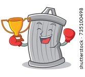 boxing trash character cartoon... | Shutterstock .eps vector #735100498