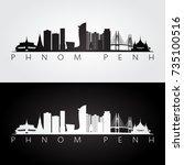 phnom penh skyline and... | Shutterstock .eps vector #735100516