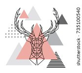 geometric head of a deer on a... | Shutterstock .eps vector #735100540