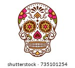 day of the dead sugar skull... | Shutterstock .eps vector #735101254