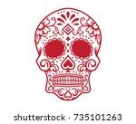red mexican sugar skull... | Shutterstock .eps vector #735101263