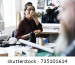 cheerful fashion designer... | Shutterstock . vector #735101614