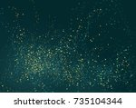 emerald golden glitter powder... | Shutterstock .eps vector #735104344
