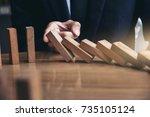 close up of businessman hand...   Shutterstock . vector #735105124