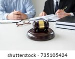 close up of gavel  male lawyer... | Shutterstock . vector #735105424