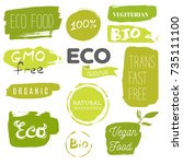 healthy food icons  labels.... | Shutterstock .eps vector #735111100