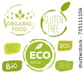 healthy food icons  labels.... | Shutterstock .eps vector #735111106