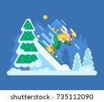 smiling downhill skier riding... | Shutterstock .eps vector #735112090