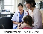 Small photo of Young patient is getting a diagnose from doctor