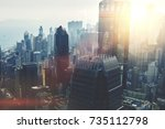 view from the roof of a modern... | Shutterstock . vector #735112798