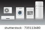 set icons of household... | Shutterstock .eps vector #735113680