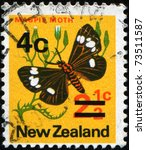 Small photo of NEW ZEALAND - CIRCA 1970: A stamp printed in New Zealand shows iMagpie moth, Nyctemera - Abraxas grossulariata or Small Magpie (Eurrhypara hortulata), series, circa 1970