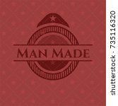 man made realistic red emblem   Shutterstock .eps vector #735116320