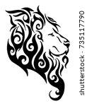 silhouette lion side head... | Shutterstock .eps vector #735117790
