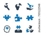 business solution icons   blue ... | Shutterstock .eps vector #735122548