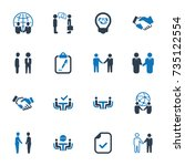 business deal icons   blue... | Shutterstock .eps vector #735122554