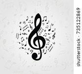black and white music poster... | Shutterstock .eps vector #735122869