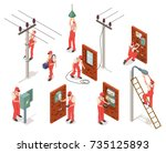 electrician in red uniform... | Shutterstock .eps vector #735125893