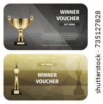two black and brown winner... | Shutterstock .eps vector #735127828
