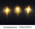 golden sparklers that spread...   Shutterstock .eps vector #735127873