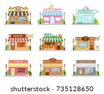 store shop buildings set with... | Shutterstock .eps vector #735128650