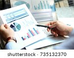 business man working and... | Shutterstock . vector #735132370