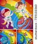 astronauts flying in rainbow... | Shutterstock .eps vector #735133360