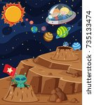 space scene with kids riding in ... | Shutterstock .eps vector #735133474
