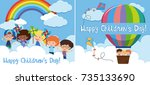two happy children's day card... | Shutterstock .eps vector #735133690