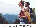 young man and woman travelers... | Shutterstock . vector #735133966