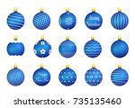 15 blue christmas balls with... | Shutterstock .eps vector #735135460