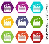 clapperboard icon set many...   Shutterstock .eps vector #735138940