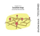 location check in road map...   Shutterstock .eps vector #735139483