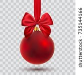 Christmas Ball With Ribbon And...