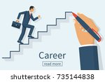 man is climbing career ladder.... | Shutterstock .eps vector #735144838