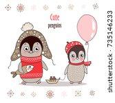 cute little penguin in warm... | Shutterstock .eps vector #735146233