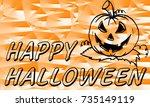 vector halloween orange... | Shutterstock .eps vector #735149119