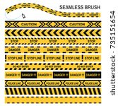 police yellow tape seamless...   Shutterstock .eps vector #735151654