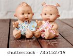 cute doll in background | Shutterstock . vector #735152719