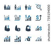 financial strength icons   blue ... | Shutterstock .eps vector #735154000