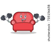 fitness red sofa character... | Shutterstock .eps vector #735156658