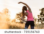 young female workout before... | Shutterstock . vector #735156763
