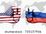 conflict between usa and russia ... | Shutterstock . vector #735157936